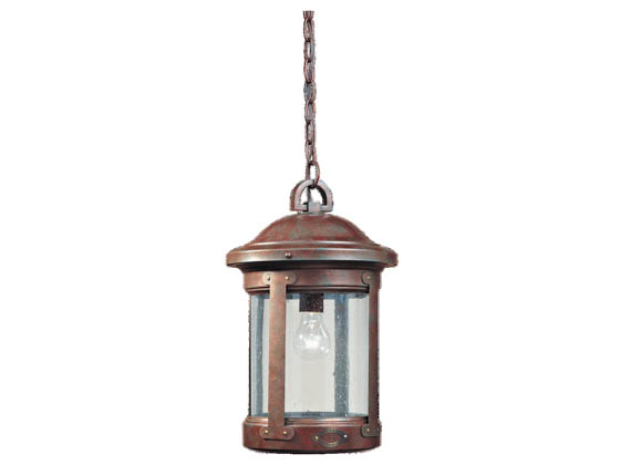 Sea Gull Lighting 6041-44 One-Light Outdoor Hanging Lantern Fixture, HSS CO-OP Collection, Weathered Copper Over Solid Brass