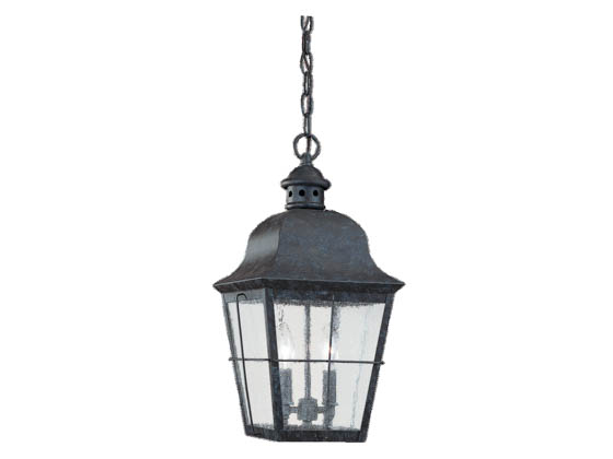Sea Gull Lighting 6062-46 Two-Light Outdoor Hanging Lantern Fixture, Chatham Collection, Oxidized Bronze Finish Over Solid Brass