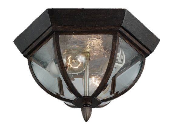 Sea Gull Lighting 78136-08 Two-Light Outdoor Ceiling Light Fixture, Ardsley Court Collection, Textured Rust Patina Finish