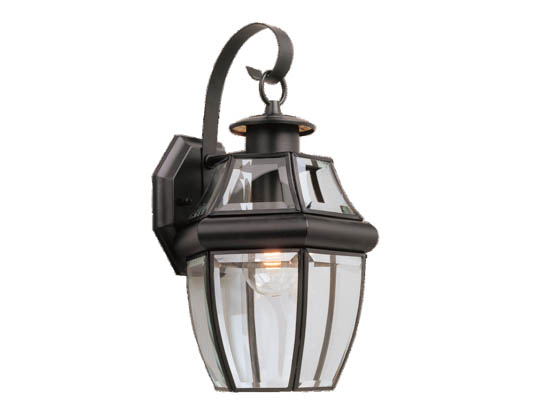 Sea Gull Lighting 8067-12 One-Light Outdoor Wall Lantern, Lancaster Collection, Black