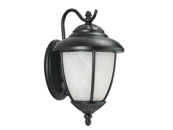 Sea Gull Lighting 89049PBLE-12 One-Light Outdoor Wall Lantern, Yorktowne Collection, Black