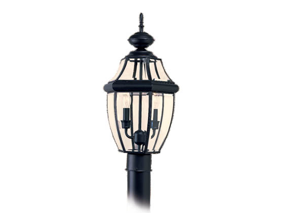 Sea Gull Lighting 8229-12 Two-Light Outdoor Post Lantern, Lancaster Collection, Black