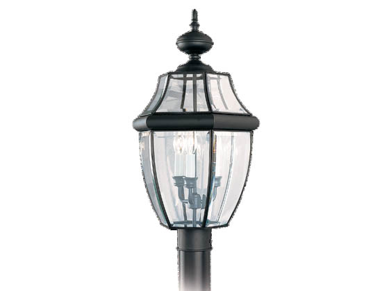 Sea Gull Lighting 8239-12 Three-Light Outdoor Post Lantern, Lancaster Collection, Black