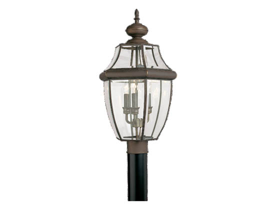Sea Gull Lighting 8239-71 Three-Light Outdoor Post Lantern, Lancaster Collection, Antique Bronze