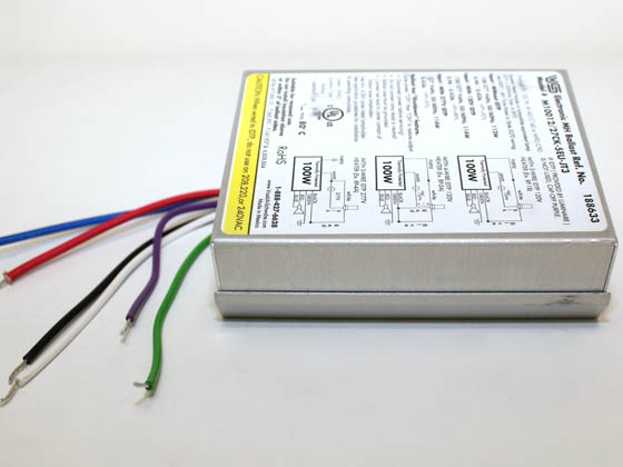 Universal 188633.02 M10012/27CK-5EU-JT3 Electronic Ballast 120V to 277V for 100W Metal Halide, Rear Mounting Studs