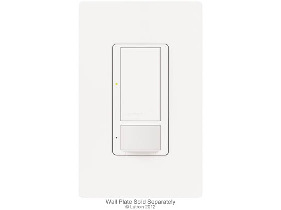 Lutron Electronics MS-OPS6M-DV-WH Lutron Maestro® Occupancy/Vacancy Sensor With Switch, 6 A Lighting, 3 A Fan