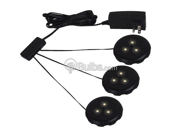 Sea Gull Lighting 98863SW-12 LED Puck Light Fixture, 3 Pack, Black