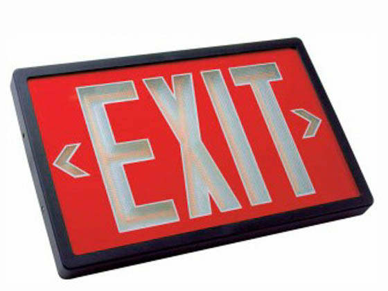 TCP TEC29R80 Exit, Single/Battery, Red Face Plastic Self Luminous Exit Sign, Red Face