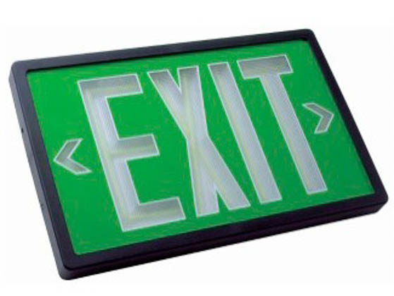 TCP TEC29R81 Exit, Single/Battery, Green Face Plastic Self Luminous Exit Sign, Green Face