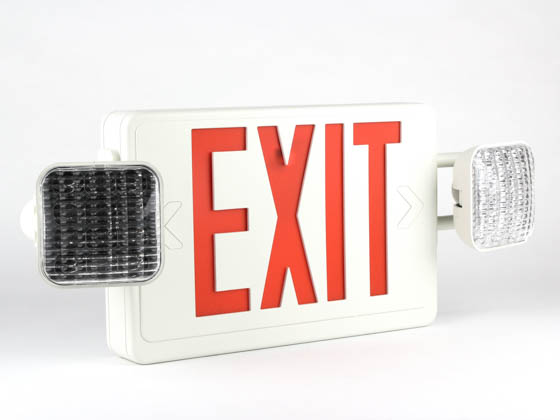 Simkar DLC2RW SK66-00347 LED Dual Head Exit and Emergency, Red Letters
