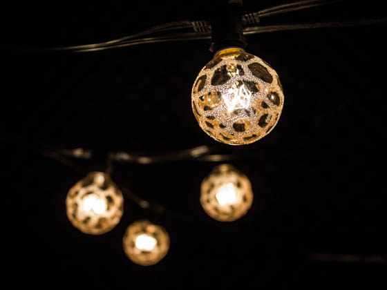 bulbrite 15 socket string lights with amber marble globe bulbs