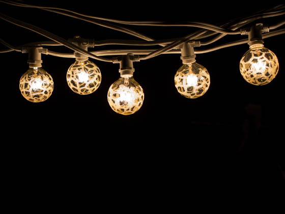 Bulbrite 810052 STRING15/E12/WHITE-G16MAR-KT 15 Socket String Lights with Amber Marble Globe Bulbs