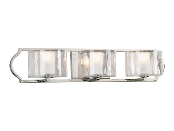 Progress Lighting P3077-104WB Three-light Layered Glass Bath Fixture