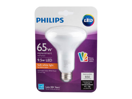 Philips Lighting 465203 BC9.5BR30/AMB/927/DIM 120V Philips Dimmable 9.5W 2700K 90 CRI BR30 LED Bulb