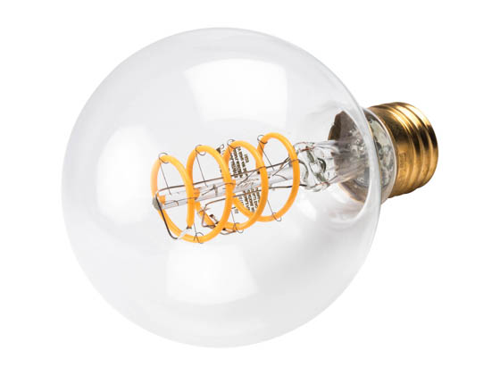 Bulbrite 776512 LED4G25/22K/FIL-NOS/CURV/SPIRAL Dimmable 4W 2200K G25 Curved Filament LED Bulb