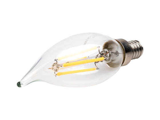 Bulbrite 776664 LED4CA10/30K/FIL/E12/2 Dimmable 4.5W 3000K Decorative Filament LED Bulb