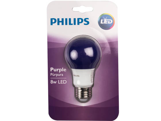 Philips Lighting 463208 BC8A19/LED/PURPLE/ND 120V Philips Non-Dimmable 8W Purple A19 LED Bulb