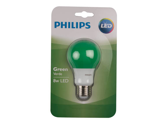 Philips Lighting 463224 BC8A19/LED/GREEN/ND 120V Philips Non-Dimmable 8W Green A19 LED Bulb