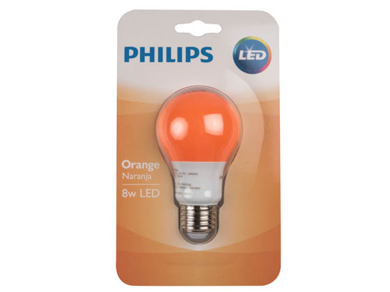 Philips Lighting 463232 BC8A19/LED/ORANGE/ND 120V Philips Non-Dimmable 8W Orange A19 LED Bulb