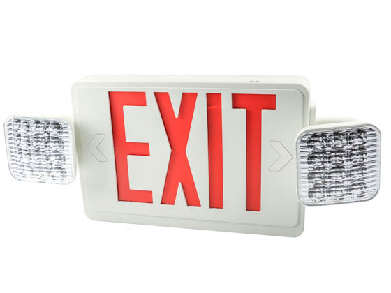 Exitronix VLED-U-WH-EL90-R LED Dual Head Exit/Emergency Sign With Battery Backup and Remote Head Capability