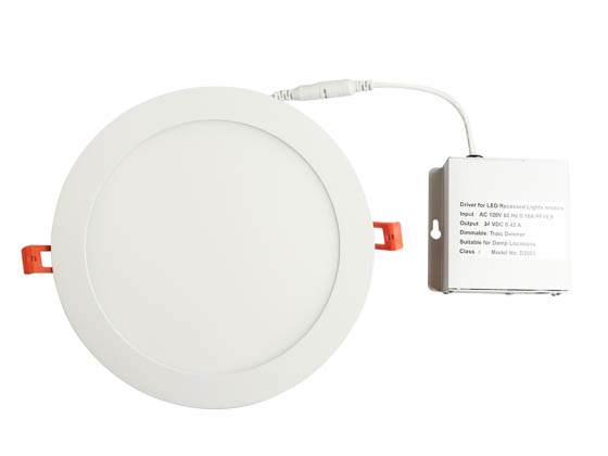 "TCP DDR80130 Dimmable 18 Watt 8"" Round 3000K Flat LED Downlight"
