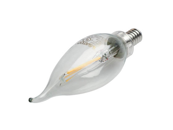 Satco Products, Inc. S29921 2.5W CFC/LED/27K/CL/120V Satco Dimmable 2.5W 2700K CA11 Decorative Filament LED Bulb, Enclosed Fixture Rated