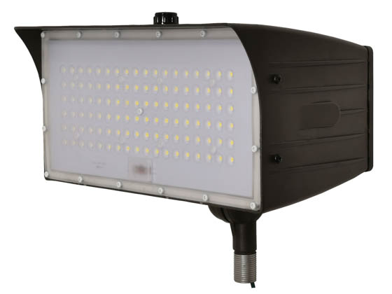 "MaxLite 14100147 FMM50UW-40BKTPC Maxlite 150 Watt HID Equivalent, 50 Watt 4000K LED Flood Light Fixture With 1/2"" Threaded Knuckle & Photocell"