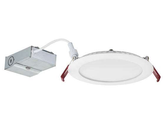 "Lithonia Lighting 2541LF WF6 LED 30K 80CRI MW CASEPACK6 Lithonia Wafer 6"" Dimmable 13W, 120V LED Downlight, 3000K, White, No Recessed Can or J-Box Needed"