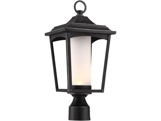 Satco Products, Inc. 62-825 Essex 14W DIM Outdoor Post Lantern Satco Essex 14 Watt Dimmable Outdoor LED Post Lantern with Etched Glass, Sterling Black
