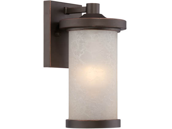 Satco Products, Inc. 62-641 Diego 10W LED SM Wall Lantern Satco Diego 10 Watt  LED Small Wall Lantern with Satin Amber Glass, Mahogany Bronze Finish