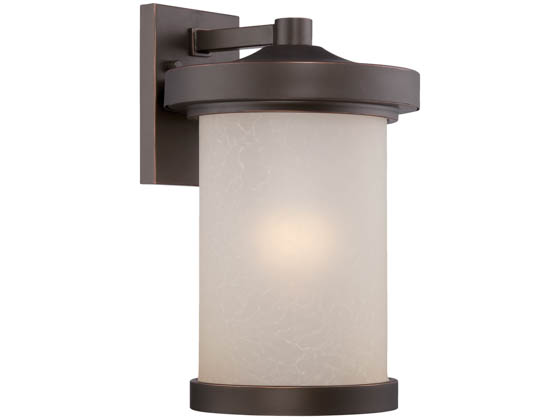 Satco Products, Inc. 62-642 Diego 10W LED LG Wall Lantern Satco Diego 10 Watt  LED Large Wall Lantern with Satin Amber Glass, Mahogany Bronze Finish