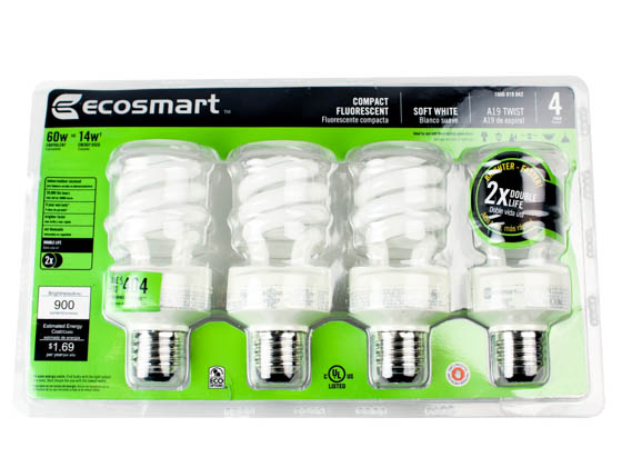 EcoSmart 245407 ES9M814TS4 60W Incandescent Equivalent, ENERGY STAR Qualified, 12000-hour, 14 Watt, 120 Volt Warm White CFL Bulb.