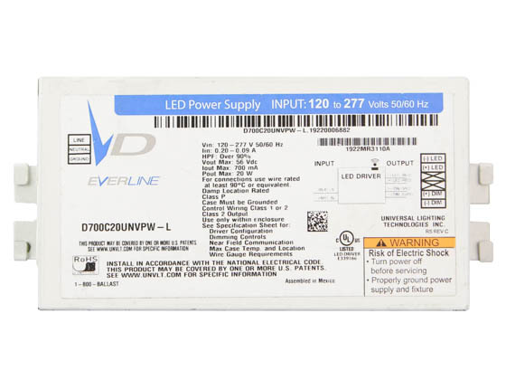 Everline D700C20UNVPW-L010C Universal 20 Watt 700mA Dimmable Programmable Constant Current LED Driver