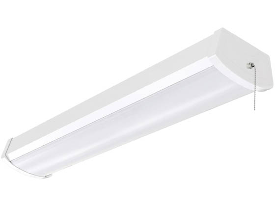 "Satco Products, Inc. 65-1091 Satco 20 Watt 24"" White LED Closet and Ceiling Wrap Fixture With Pull Chain, 3000K"