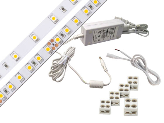 Diode LED DI-KIT-12V-BC1PG60-3500 BLAZE™ BASICS 100 LED Tape Light Kit, 12V, 3500K, 16.4 ft. Spool with Plug-In Adapter