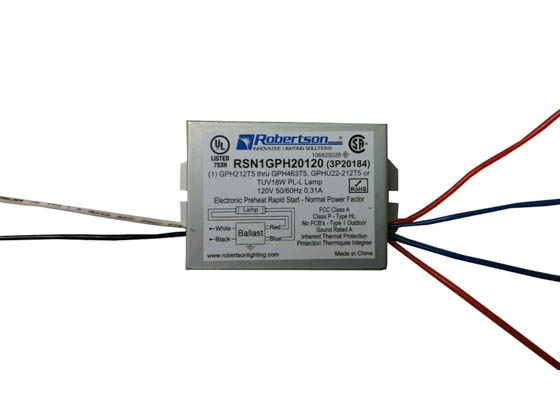 Robertson Worldwide RSN1GPH20120 Robertson Electronic Start for 1 Lamp 10-20W 120V