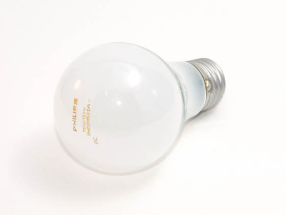 Philips Lighting 374736 75A (130V) Philips 75 Watt, 130 Volt A19 Frosted Bulb
