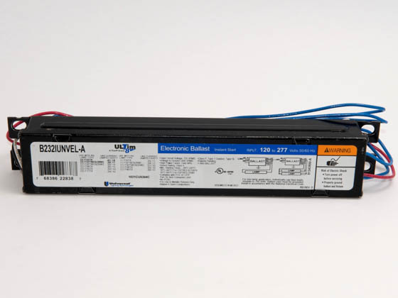 Universal B232IUNVEL-A010C 120-277 Volt Two Lamp High Efficiency F32T8 Electronic IS Ballast, Low Ballast Factor Model