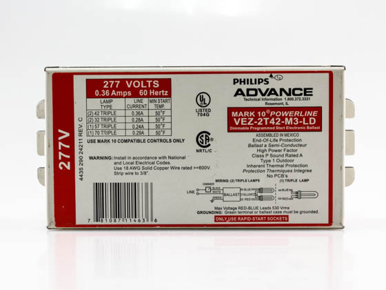 Advance Transformer VEZ2T42M3LD35M VEZ-2T42-M3-LD-35M Philips Advance Electronic Dimming Ballast 277V for (2) 42W CFL on Line Voltage Switches