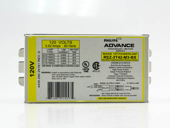 Advance Transformer REZ-2T42-M3-BS35M REZ2T42M3BS35M Philips Advance Electronic Dimming Ballast 120V for (2) CFL on Line Voltage Switches