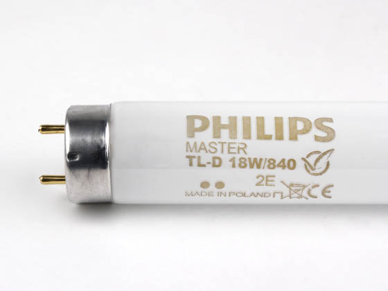 Philips Lighting 631718 40 MASTER TL-D Super 80 18W/840 Philips 18W 24in T8 Cool White EUROPEAN Fluorescent Tube