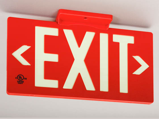 Jessup Manufacturing Company 7050-B Red Plastic Photoluminescent Exit Sign
