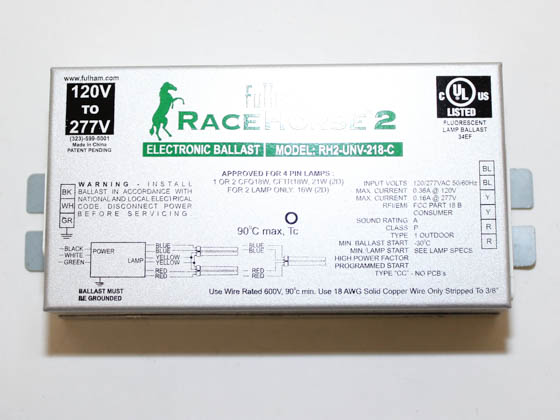 Fulham RHA-UNV-218-K RaceHorse 2 Electronic CFL Ballast Contractor Kit, 120/277 Volt