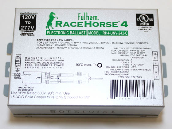Fulham RHA-UNV-242-K RaceHorse 4 Electronic CFL Ballast Contractor Kit, 120/277 Volt