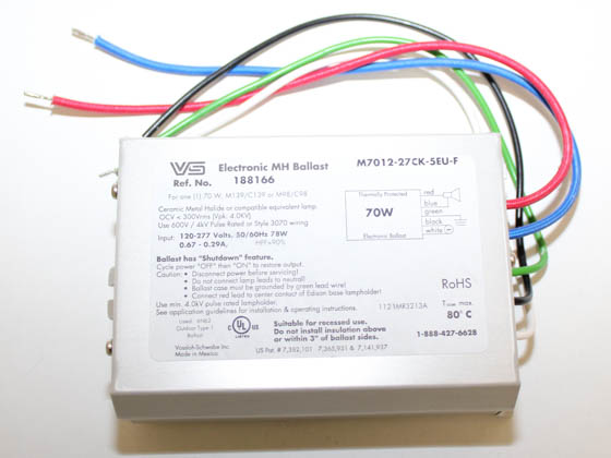 Universal 188166.02 M7012-27CK-5EU-F Electronic Ballast 120V to 277V for 70W Metal Halide Lamp