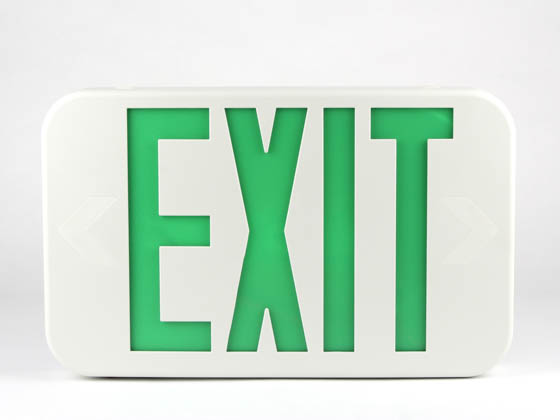Simkar DLR2GW SK66-00354 Slimline LED Exit Sign With Battery Backup, Green Letters