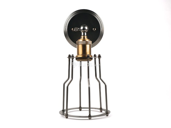 Bulbrite B810022 NOS/SCON/CAGE-PW Nostalgic Wall Sconce Fixture With Cage, Antique Pewter Finish