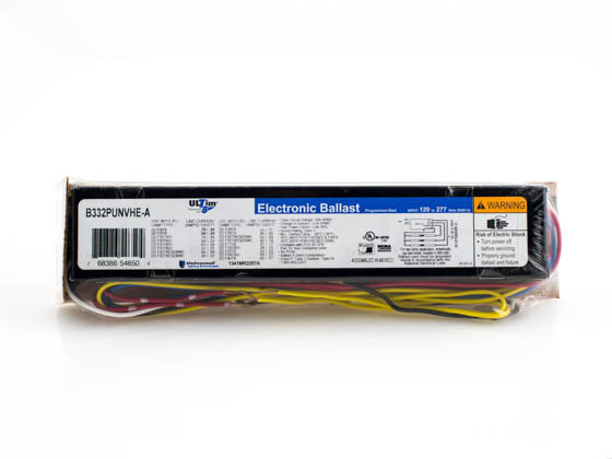 Universal B332PUNVHE-A000I Electronic Programmed Rapid Start Ballast 120V to 277V for (3) F32T8