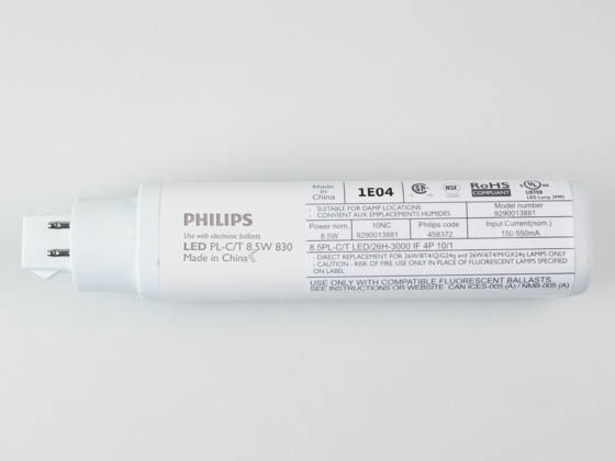 Philips Lighting 458372 8.5PL-C/T LED/26H-3000 IF 4P Philips 8.5W 4 Pin Horizontal 3000K G24q LED Bulb, Ballast Compatible
