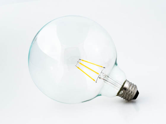 Satco Products, Inc. S9565 4.5G40/CL/LED/E26/27K/120V Satco Dimmable 4.5W 2700K G40 Filament LED Bulb, Rated For Enclosed Fixtures